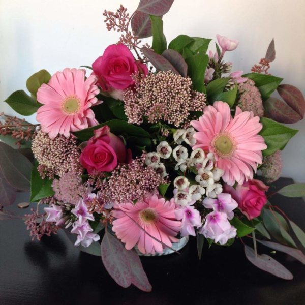 Bouquet rond dégradé rose