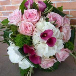 Bouquet rond rose et blanc